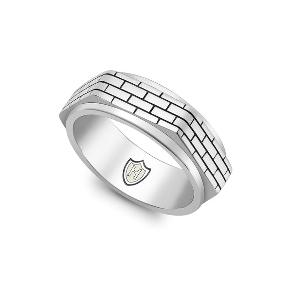 Hoxton London Men's Sterling Silver Brick Patterned Hexagonal Spinning Ring