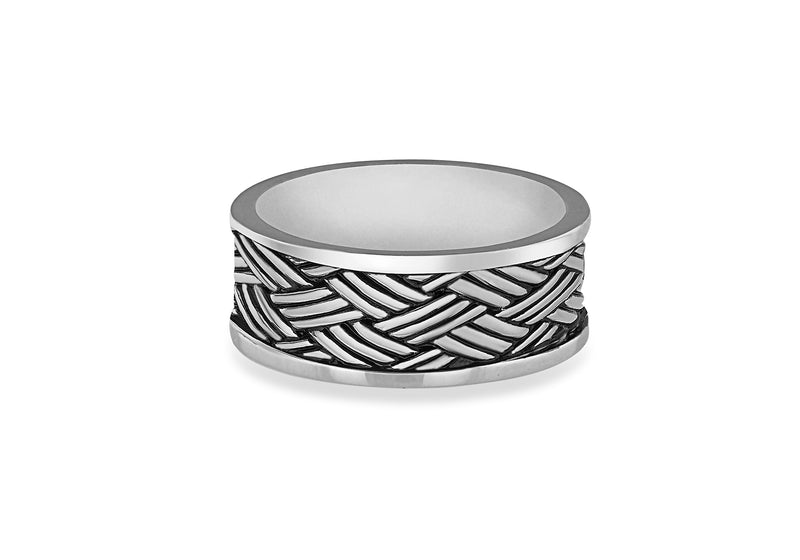 Hoxton London Men's Sterling Silver Bamboo Oxidised  Ring