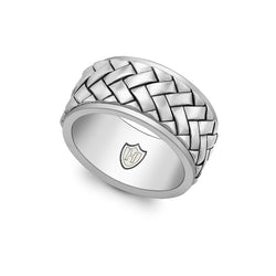 Hoxton London Men's Sterling Silver Rhodium Plated Herringbone Ring