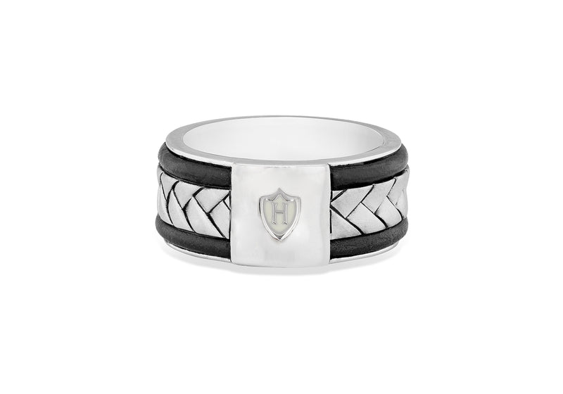 Hoxton London Men's Sterling Silver Herringbone Leather Inlay Ring
