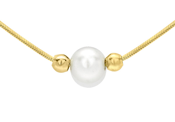 9ct Yellow Gold Pearl and Ball Hexagonal Snake Chain Necklace