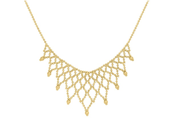 "9ct Yellow Gold Diamond Cut Ball Chain Fringe Necklace  43m/17""9"