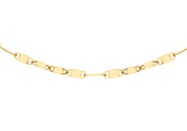 9ct Yellow Gold Sparkle Flat Link Necklace
