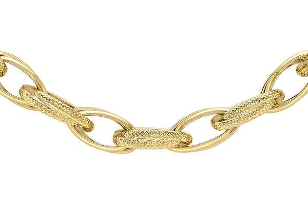 "9ct Yellow Gold 6.2mm Textured and Plain Link 'Prince of Wales' Chain 46m/18""9"