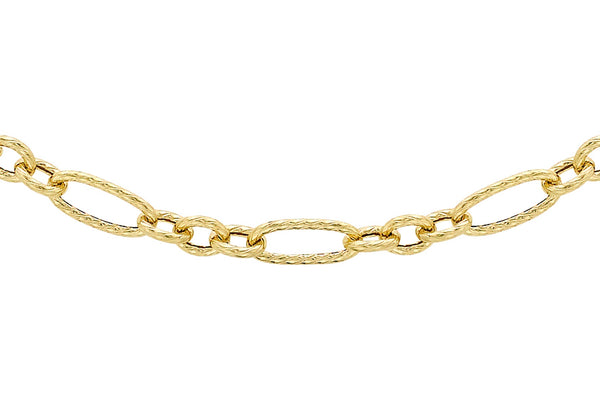 "9ct Yellow Gold 80 Twist Detail Figaro Chain 51m/20""9"