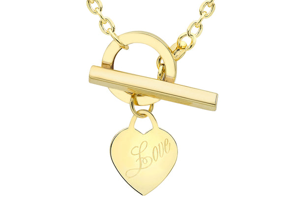"9ct Yellow Gold Heart Tag T-Bar 'Love' Necklace  46m/18""9"