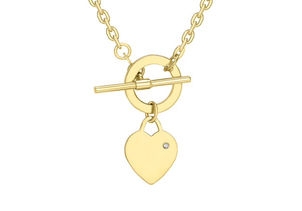 9ct Yellow Gold Diamond Set Heart Tag T-Bar Trace Chain Necklace