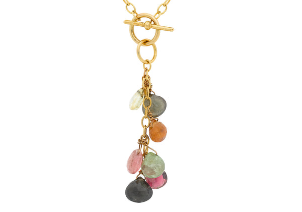 "9ct Yellow Gold Multi-Coloured Tourmaline Bead Oval Belcher  Necklace  41m/16""9"
