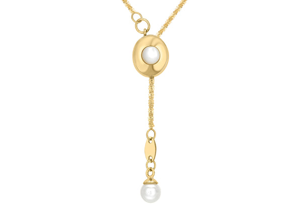 "9ct Yellow Gold Pearl Drop Slider Necklace  61m/24""9"