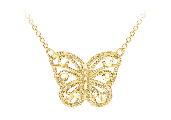9ct Yellow Gold Diamond Cut Butterfly Adjustable Necklace