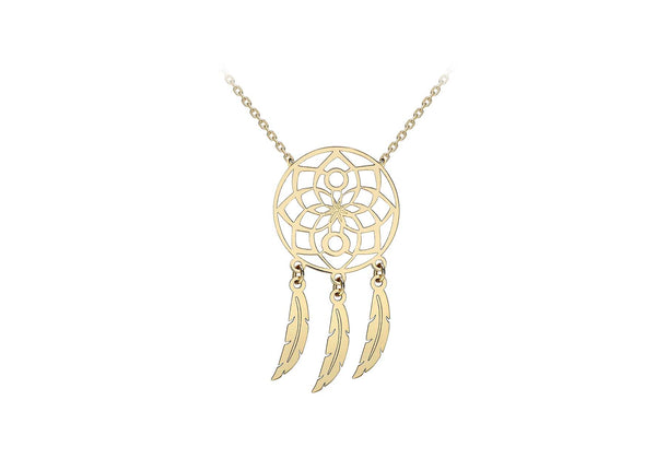 9ct Yellow Gold Flower Dream Catcher Necklace