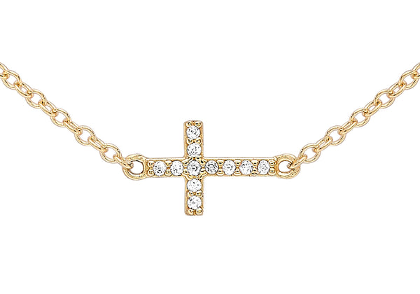 "9ct Yellow Gold Zirconia  Triple-Cross Adjustable Necklace  43m/17""-46m/18""9"
