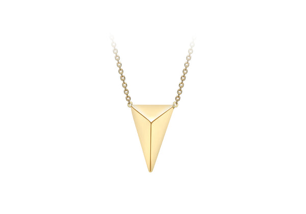 "9ct Yellow Gold 9.6mm x 13mm Elongated Pyramid Adjustable Necklace  41m/16""-43m/17""9"