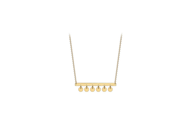 "9ct Yellow Gold 30mm x 2.5mm Bar and Hanging 3.4mm Discs Adjustable Necklace  41m/16""-43m/17""9"