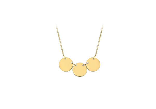 9ct Yellow Gold Triple Disc Adjustabe Necklace