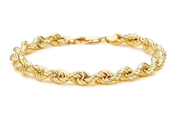 9ct Yellow Gold Hollow Rope Bracelet 20cm/8""