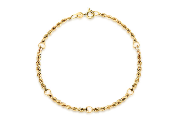 9ct Yellow Gold Hollow Rope and Ball Bracelet
