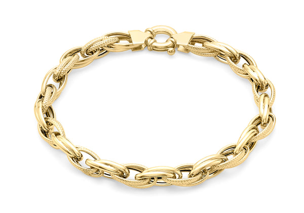 "9ct Yellow Gold Textured Link Bracelet 19m/7.5""9"