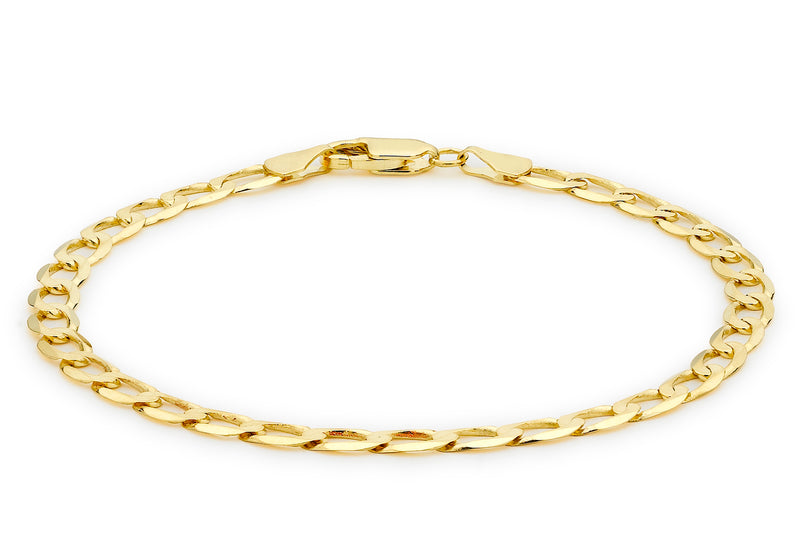 "9ct Yellow Gold Diamond Cut Flat Curb Bracelet 20m/8""9"