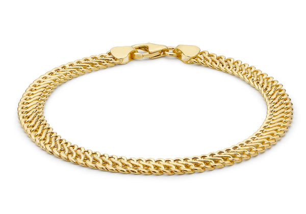 9ct Yellow Gold Hollow Woven Curb Bracelet