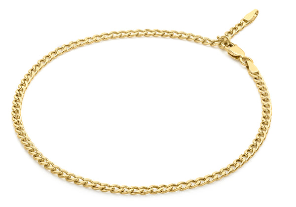 "9ct Yellow Gold 80 Adjustable Curb Chain Anklet 25.5m/10""9"