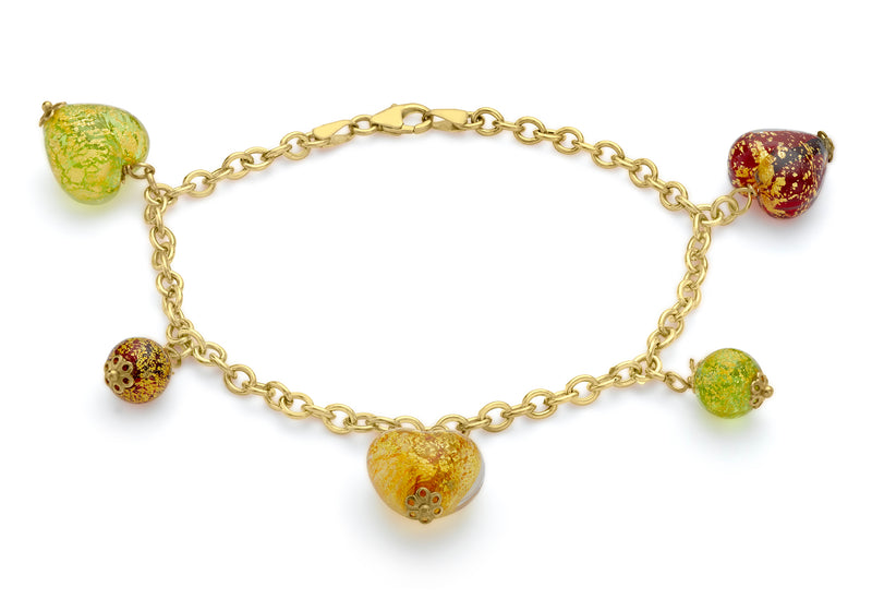 9ct Yellow Gold Venetian Heart and Beach CCharm Bracelet