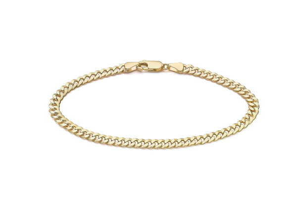 "9ct Yellow Gold Diamond Cut 4.3mm Round Link Curb Bracelet 19m/7.5""9"