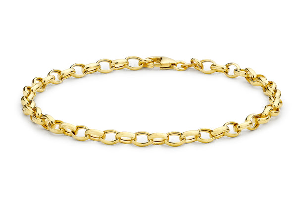"9ct Yellow Gold Hollow Oval Belcher  Bracelet 19m/7.5""9"