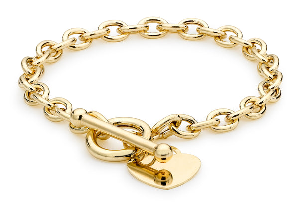 9ct Yellow Gold Oval Belcher Heart Tag T-Bar Bracelet 18cm/7""