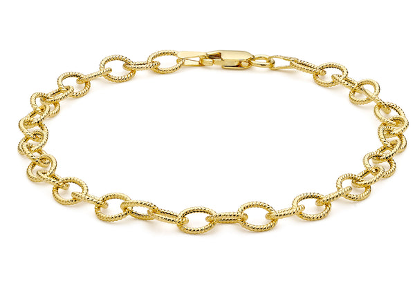 9ct Yellow Gold Textured Belcher Bracelet