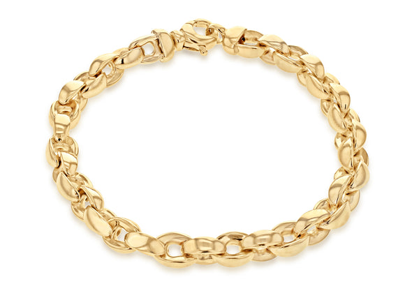 9ct Yellow Gold Thick Oval Belcher Bracelet