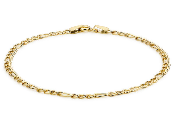 "9ct Yellow Gold Hollow Figaro Anklet 23m/9""9"