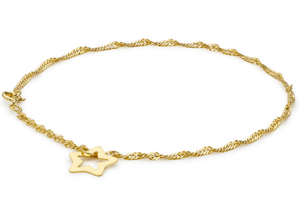 9ct Yellow Gold Twist Curb and Star Drop Anklet