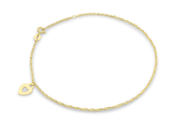 "9ct Yellow Gold Heart and Twist Curb Chain Anklet 23m/9""9"