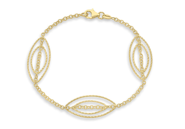 9ct Yellow Gold Triple Double Diamond Cut Elliptic Link Bracelet