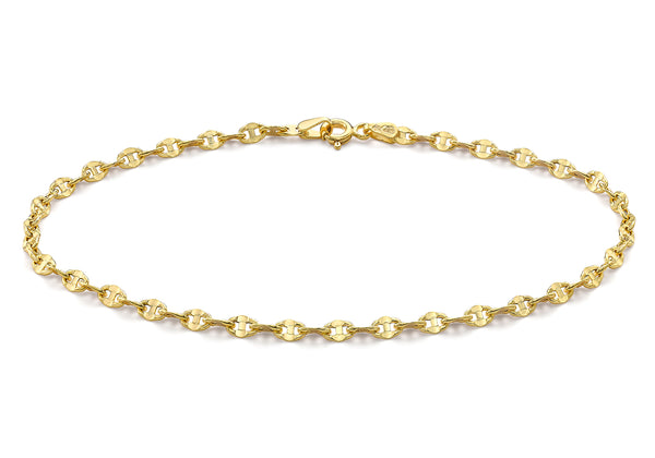 "9ct Yellow Gold 65 Marine Style Anklet 23m/9""9"