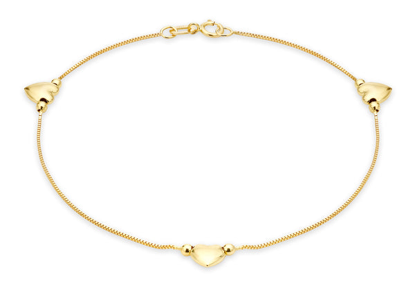 "9ct Yellow Gold 3-Heart Charm Box Chain Anklet 26m/10.5""9"