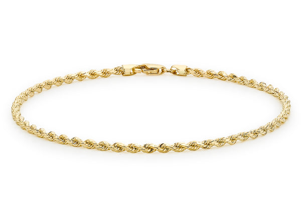 "9ct Yellow Gold 30 Hollow Diamond Cut Rope Anklet 25.5m/10""9"