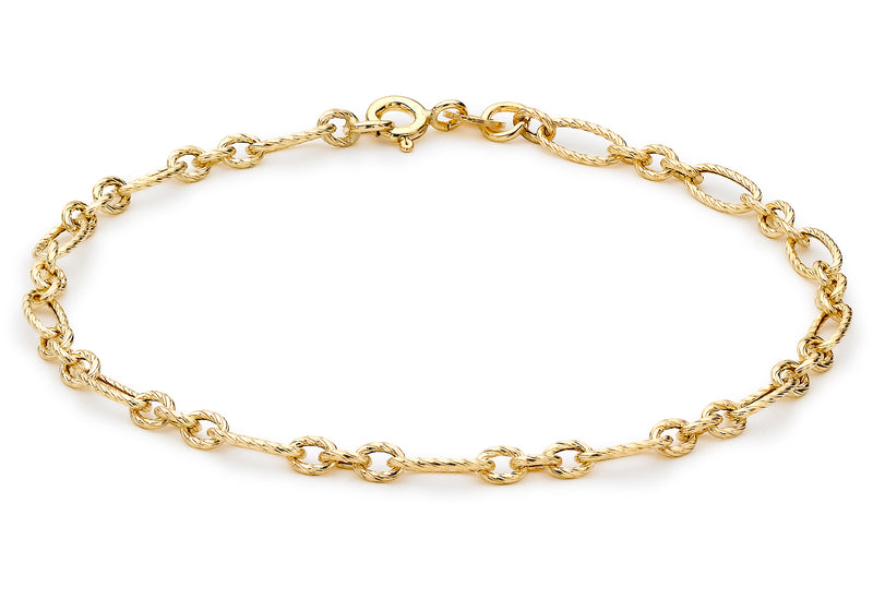 "9ct Yellow Gold Textured Figaro Bracelet 19m/7.5""9"