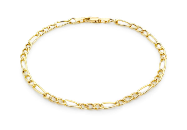 "9ct Yellow Gold Diamond Cut 80 Figaro Anklet 24m/9.5""9"