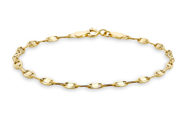 "9ct Yellow Gold Oval Flat Link Bracelet 19m/7.5""9"