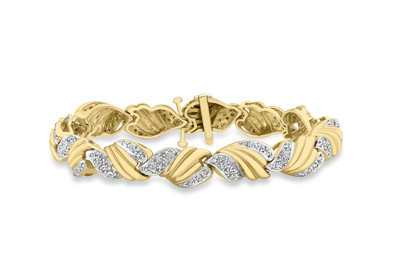 "9ct 2-Colour Gold 1.00t FlCuted Pave Set Diamond Bracelet 19.5m/7.7""9"