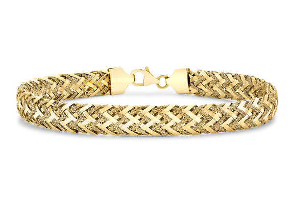 "9ct Yellow Gold Textured Woven Bracelet 19m/7.5""9"