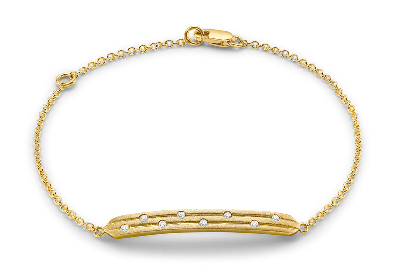 9ct Yellow Gold 0.08ct Diamond Satin Bar Adjustable Bracelet