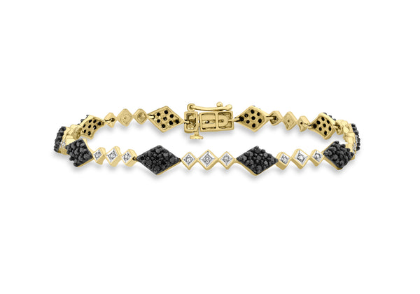 "9ct Yellow Gold 1.00t Black and White Diamond Link Bracelet 19m/7.5""9"