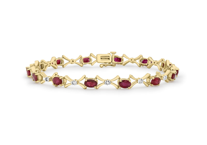 "9ct Yellow Gold 0.12t Diamond and Ruby Link Bracelet 18m/7""9"