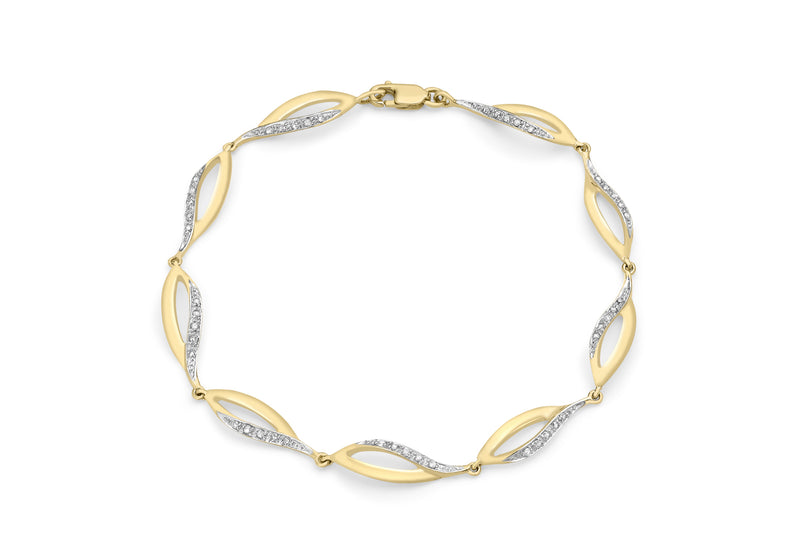 "9ct Yellow Gold 0.21t Diamond Ellipse Link Bracelet 18m/7""9"