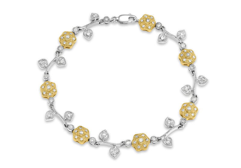 "9ct 2-Colour Gold 1.00t Diamond Flower & Leaf Bracelet 20m/7.85""9"