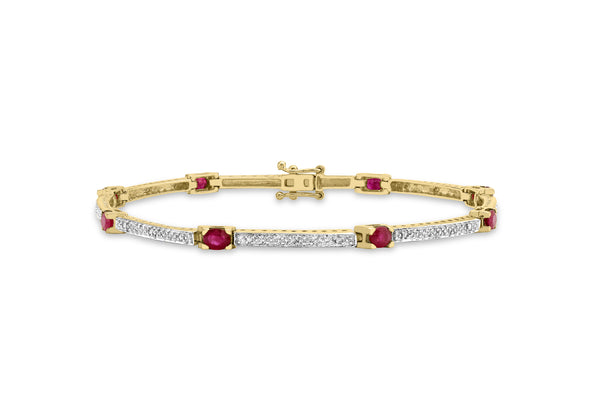 "9ct Yellow Gold 0.12t Diamond and Ruby Bar Link Bracelet 19m/7.5""9"