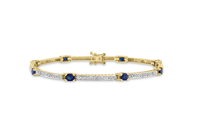 9ct Yellow Gold 0.12ct Diamond and Sapphire Bar Link Bracelet